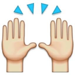 Dues mans alçades mostrant els palmells són símbol d'alegria.