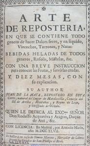 Portada de l'Arte de reposteria de Juan de la Mata, 1747.