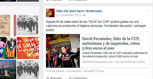 Captura de pantalla d'una de les amenaces de l'usuari de Facebook denunciat.