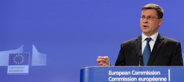 El vice-president de la Comissió Europea per l'Euro i el Diàleg Social, el letó Valdis Dombrovskis