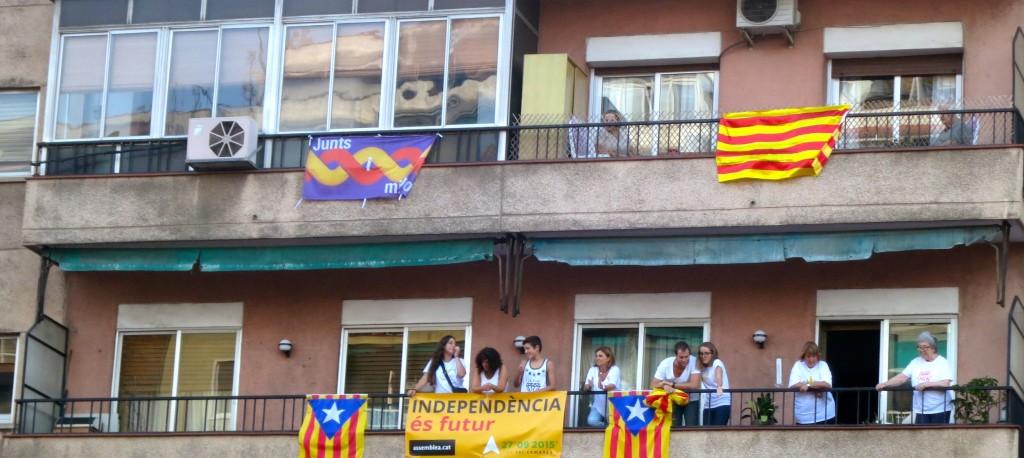 Estelades al costat de banderes unionistes.