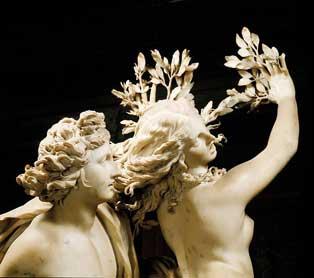 Detall de l'escultura en marbre 'Apol·lo i Dafne' (1622-1625) de Bernini, que es troba en la Galleria Borghese a Roma, i que representa el moment de la transformació de la nimfa.