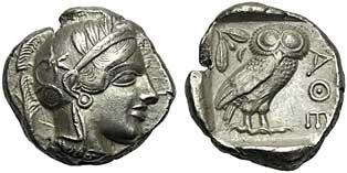 Una branca d'olivera i un mussol, dos dels atributs de la deessa Atenes, inclosos en les monedes de l'antiga Grècia.