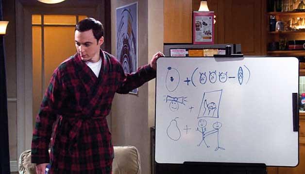 Warner   Un aspecte important del tractament de la ciència a 'The Big Bang Theory' és la incorporació immediata de l'actualitat científica. En la imatge, escena de la sèrie en què Sheldon Cooper tracta de descriure amb dibuixos el bosó de Higgs.