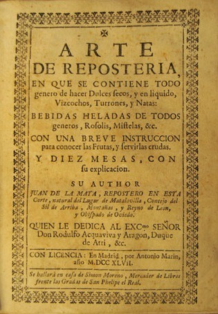 Edició de 1747 de l'Arte de reposteria de Juan de la Mata.
