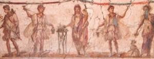 Larari romà amb Mercuri, els Lares, Geni i el déu Penat