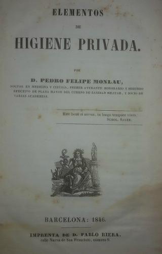 Portada de la primera edició dels 'Elementos de higiene privada' de Pere Felip Monlau. Barcelona, 1846.