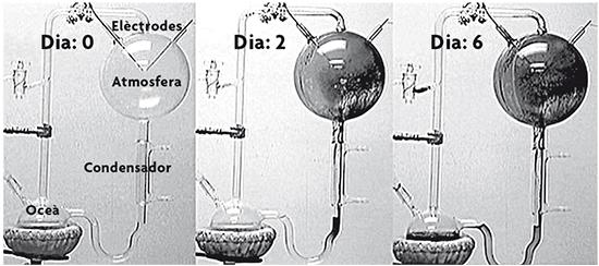 Sèrie temporal de l'experiment de Miller que mostra l'acumulació del material de color marró. Els aminoàcids i altres compostos orgànics s'acumulen en el matràs «oceà». Fotogrames d'un vídeo gravat en el laboratori de Miller per diversos dels seus estudiants i J. L. Bada al voltant dels anys 1997-1998.