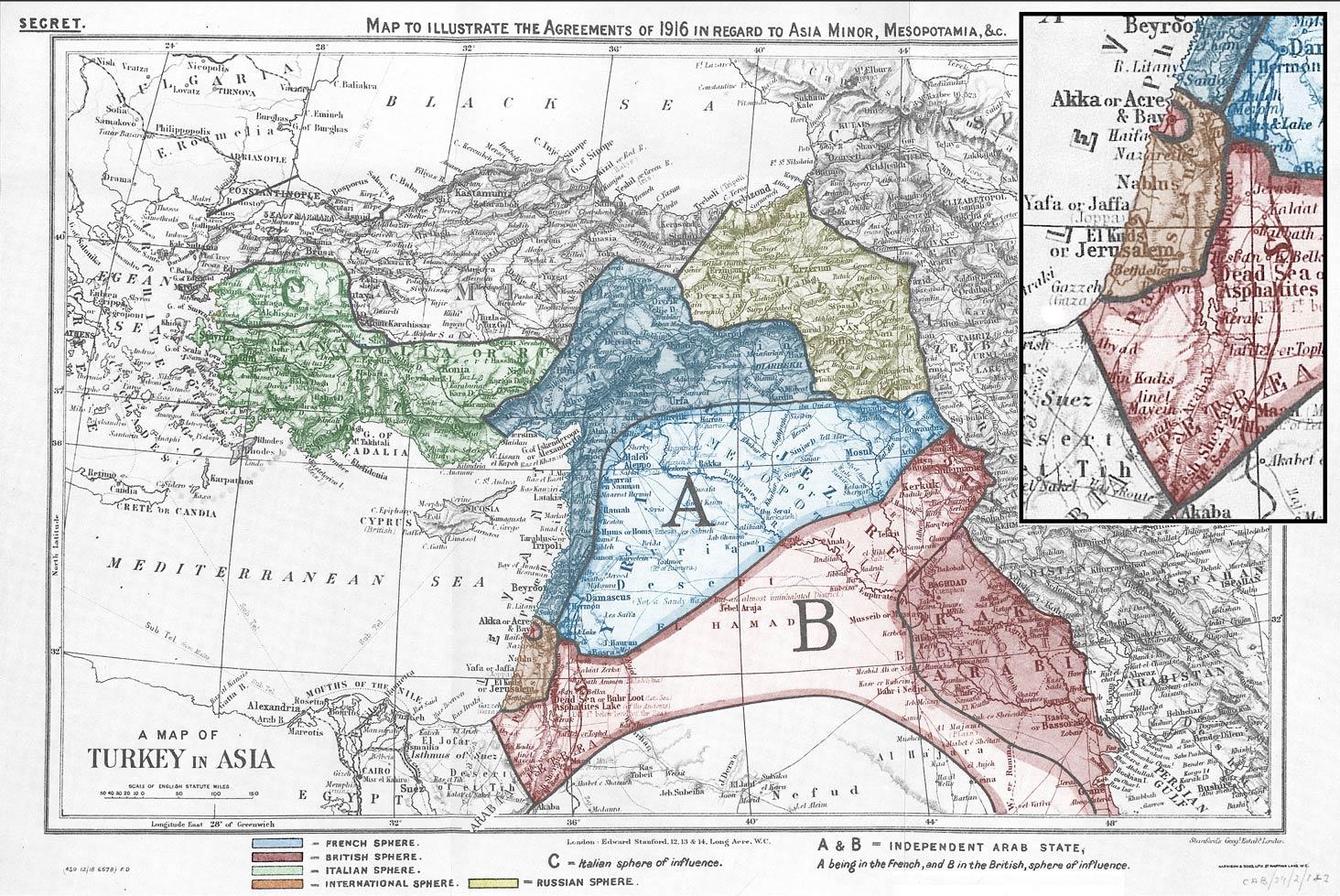 Mapa dels acords Sykes-Picot, que van dividir l'imperi otomà entre el Regne Unit i França