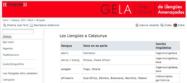 GELA llengües