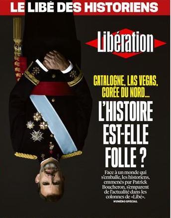 Resultat d'imatges de Liberation foto del rei cap avall