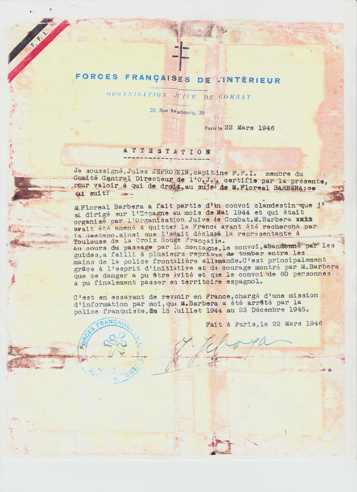 Certificado sobre Floreal Barberà (Fuerzas Francesas del Interior).