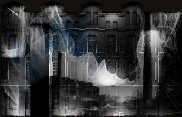 Façana del Campus del Poblenou la Universitat Pompeu Fabra on es projectarà l'oba 'Lo tèxtil', d'Alba G. Corral