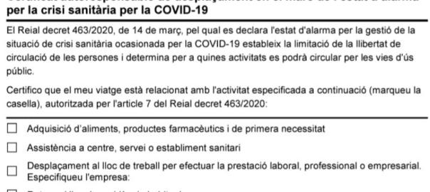 certificat autoresponsable desplaçament