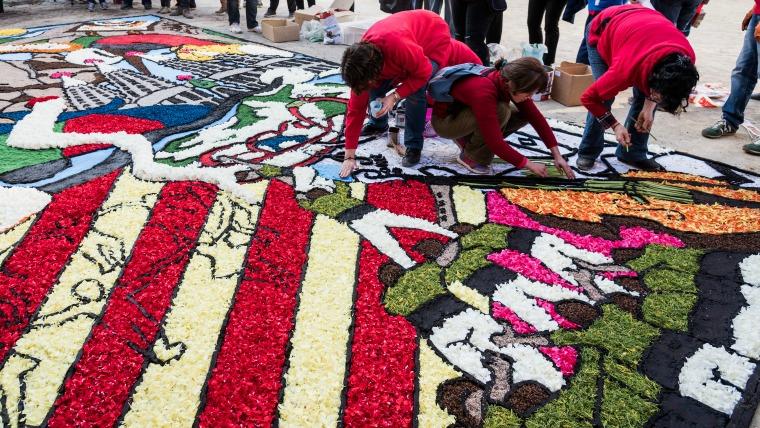 Catifa de flors a Barcelona.