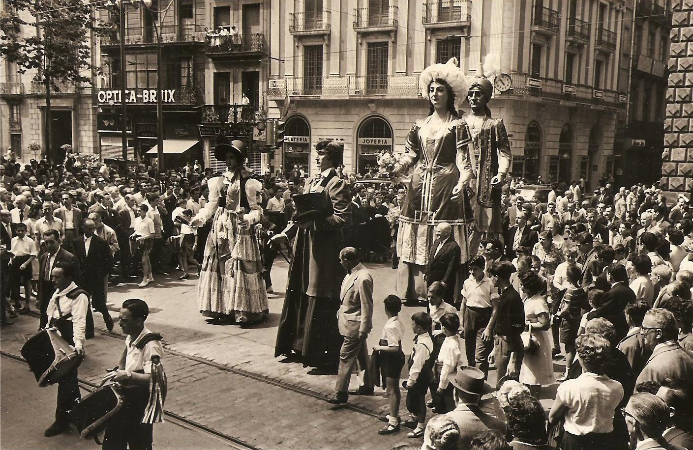 Festa de la recuperació dels quatre Gegants del Pi, 12 de juny de 1960.