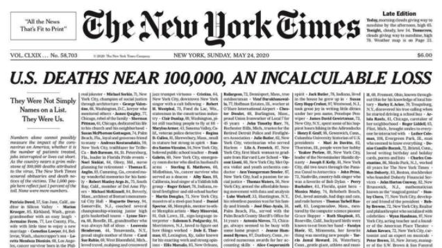 portada New york times coronavirus
