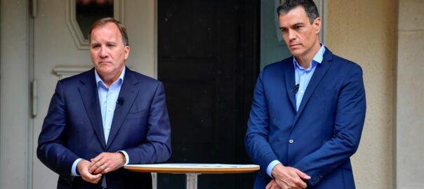 El primer ministre suec, Stefan Lofven, amb el president del govern espanyol, Pedro Sánchez.