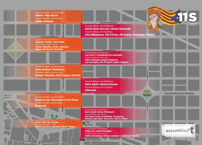 Mapa concentracio prèvia manifestacio Diada 2021